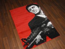 Novelty Aproxx 80cmx120cm Mat/Rugs Woven Backed Reds/Black Bargains Scarface